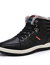 cheap -Men's Shoes Real Leather Winter Snow Boots Comfort Boots Skiing Shoes Booties/Ankle Boots Rivet For Athletic Outdoor Black Dark Blue Brown