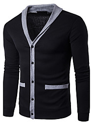 cheap -Men's Daily Casual Regular Cardigan,Solid V Neck Long Sleeves Wool Spring Fall Medium Stretchy