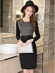 Women's Work Sheath Dress,Color Block Round Neck Knee-length Long Sleeves Cotton Polyester Fall High Rise Stretchy Medium