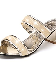 cheap -Women's Sandals Light Soles PU Spring Casual Sparkling Glitter Block Heel Silver Black Gold 2in-2 3/4in
