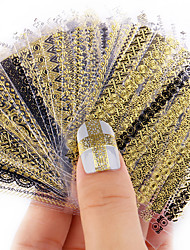 cheap -Nail Stickers 24pcs/lot Nail Art 3d Beauty Gold Design Brand Charms Manicure Bronzing Decals Decorations Tools Fashion Gift