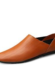 preiswerte -Herren Schuhe Echtes Leder Leder Frühling Sommer Komfort Tauchschuhe Loafers & Slip-Ons für Normal Schwarz Hellbraun Dunkelbraun