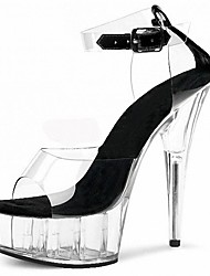 Women's Sandals Formal Shoes Summer PVC Dress Party & Evening Crystal Buckle Stiletto Heel White Black Ruby 5in & over