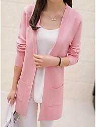 Women's Beach Regular Cardigan,Solid Round Neck Long Sleeves Others Spring Fall Medium Micro-elastic