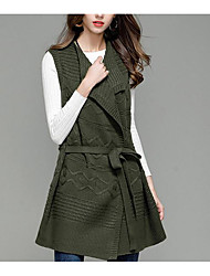cheap -Women's Daily Casual Long Vest,Solid Shirt Collar Sleeveless Acrylic Fall Thick Micro-elastic