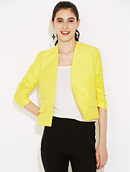 Women's Fall Blazer,Solid Shirt Collar Long Sleeve Blue / Pink / Black / Yellow Cotton Thin