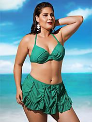 billige -Dame Plusstørrelser Grime Bandeau Bikini - Ensfarvet, Drapering Skjørte