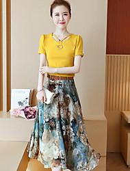Damen Muster Anspruchsvoll Ausgehen Bluse Rock Anzüge,V-Ausschnitt Sommer Kurzarm
