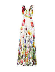 cheap -Women's Vintage Boho Sheath Dress - Floral High Rise Maxi V Neck