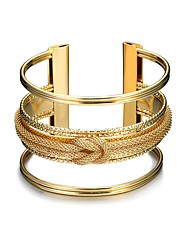 Lureme Gold Knot Pattern Open Ended Wide Bracelet Bangle Cuff Fashion