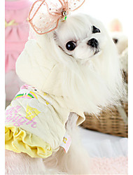 cheap -Dog Vest Dog Clothes Cartoon Beige Pink Cotton Down Costume For Pets Casual/Daily