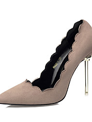 Women's Shoes Suede Fall Winter Comfort Heels Stiletto Heel Pointed Toe For Dress Khaki Light Pink Green Gray Black