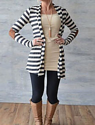 cheap -Women's Holiday Regular Cardigan,Striped Color Block Round Neck Long Sleeves Others Spring Fall Medium Micro-elastic