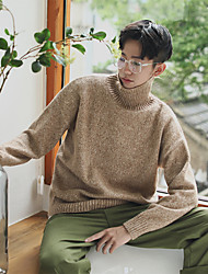 cheap -Men's Long Sleeve Wool Pullover - Solid Colored / Color Block Turtleneck