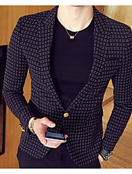 cheap -Men's Daily Street chic Spring Summer Fall Blazer,Solid Notch Lapel Long Sleeve Regular PU Polyester Nylon