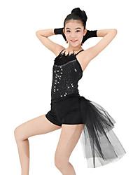 Danse classique Robes Spectacle Elasthanne Polyester Dentelle Paillété Plumes/Fourrure Robe pan volant 4 Pièces Sans manche Taille haute