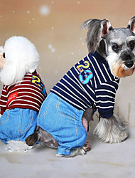 cheap -Dog Jumpsuit Dog Clothes Cowboy Fashion Jeans Gray Red Blue Costume For Pets