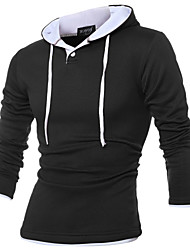 Men's Plus Size Sports Running Street chic Punk & Gothic Hoodie Solid Hooded Stretchy Cotton Long Sleeve Winter Fall