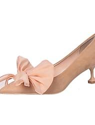 cheap -Women's Heels Light Soles Summer PU Casual Dress Bowknot Flower Kitten Heel Khaki Black 1in-1 3/4in