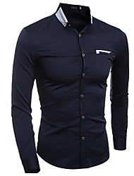 Men's Going out Active Shirt,Solid Striped Geometric Shirt Collar Half Sleeves Cotton Linen Polyester
