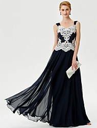 A-Line Straps Floor Length Chiffon Mother of the Bride Dress with Appliques Crystal Detailing by LAN TING BRIDE®
