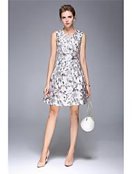 levne -Dámské Pouzdro Šaty - Jednobarevné, Tisk Do V
