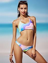 abordables -Femme Licou Bandeau Bikinis - Imprimé, Arc-en-ciel Slip Brésilien