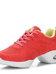 cheap -Non Customizable Women's Dance Shoes Knit Dance Sneakers / Modern Sneakers Low Heel Outdoor Black/Red/Gray