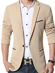 cheap -Men's Daily Simple Casual Spring Blazer,Solid Peaked Lapel Long Sleeve Regular Polyester