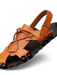 Men's Sandals Comfort Summer Fall Nappa Leather Water Shoes Outdoor Dress Light Brown Black 1in-1 3/4in