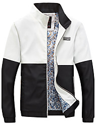 Men's Plus Size Fashion Slim Stand Collar Chest Letter Patch Spell Color Jacket