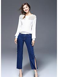 FRMZ Women's Going out Cute Fall ShirtPrint Round Neck Long Sleeves Polyester Medium