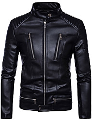 cheap -Men's Basic Leather Jacket - Solid Colored Stand