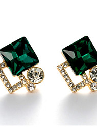cheap -Drop Earrings Women's Fashion Square Style Dark Green Rhinestone Earrings For  Business Charm Daily Movie Jewelry
