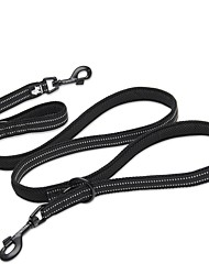 Leash Dog Double Leashes Anti-Slip Reflective Breathable Safety Solid Polyester Mesh Nylon