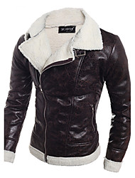 cheap -Men's Slim Leather Jacket - Solid