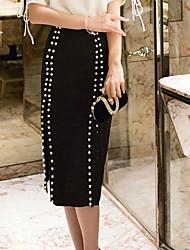 preiswerte -Damen Klassisch & Zeitlos Anspruchsvoll Bodycon Röcke - Solide Volltonfarbe
