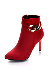 cheap -Women's Shoes Synthetic Microfiber PU Spring / Fall Bootie Boots Stiletto Heel Booties / Ankle Boots Black / Red
