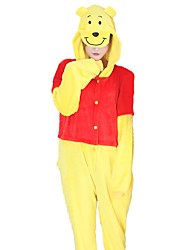 baratos -Pijamas Kigurumi Urso Pijamas Macacão Ocasiões Especiais Flanela Cosplay Para Adulto Pijamas Animais desenho animado Dia das Bruxas