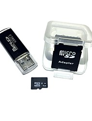cheap -4GB MicroSDHC TF Memory Card with USB Card Reader and SDHC SD Adapter