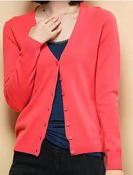 Standard Cashmere Da donna-Casual Semplice Tinta unita Rotonda Manica lunga Altro Autunno Inverno Medio spessore Media elasticità