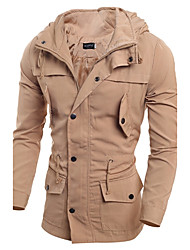 cheap -Men's Military Cotton Slim Jacket - Solid Colored