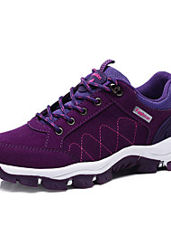 cheap -Women's Shoes PU Spring Fall Comfort Light Soles Athletic Shoes Hiking Shoes Flat Heel Round Toe Lace-up for Athletic Black Purple Fuchsia