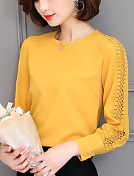 Women's Going out Casual/Daily Simple Cute Summer Fall Blouse,Solid Round Neck Long Sleeves Polyester Medium