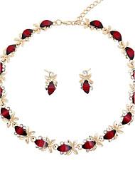preiswerte -Damen vergoldet Schmuck-Set - Modisch Rot Halskette Für Hochzeit / Party / Verlobung