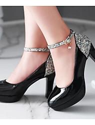 Damen Schuhe PU Herbst Komfort High Heels Für Normal Weiß Schwarz Beige Rosa