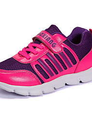 Girls' Sneakers Comfort Spring Fall PVC Leather Tulle Casual Outdoor Lace-up Flat Heel Purple Flat