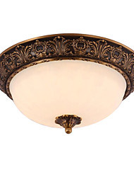 Country Traditional Artistic Brass 2 Light Flush Mount Ceiling Fixture