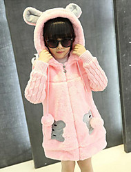 cheap -Girls' Patchwork Down & Cotton Padded,Rayon Polyester Winter Fall Long Sleeve Cartoon Blushing Pink Khaki