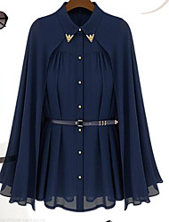 Women's Daily Simple Casual Spring Cloak/Capes,Solid Shirt Collar Long Sleeve Long Polyester